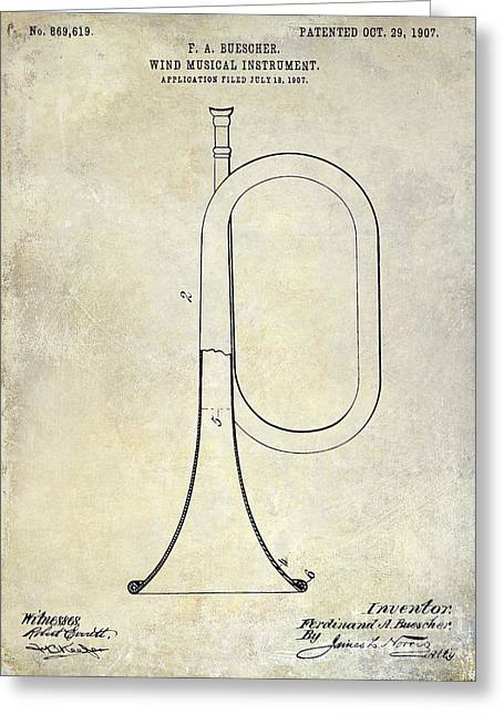 1907 Bugle Patent Drawing Greeting Card by Jon Neidert