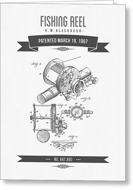1907 Fishing Reel Patent Drawing Greeting Card by Aged Pixel
