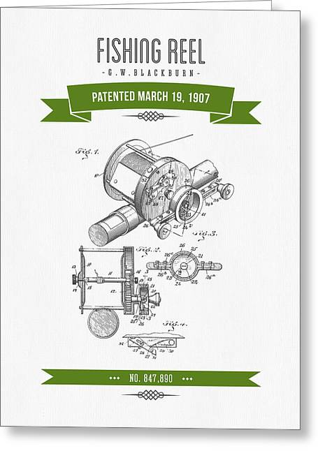 1907 Fishing Reel Patent Drawing - Green Greeting Card by Aged Pixel