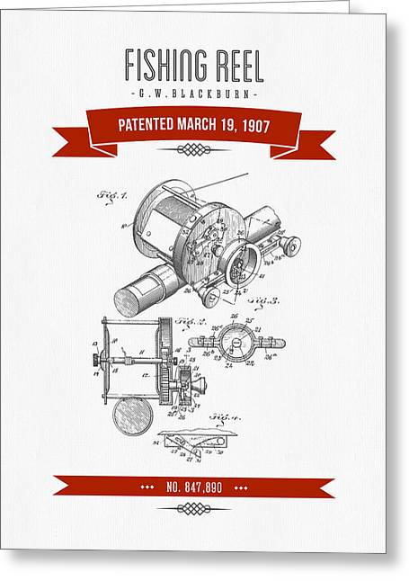 1907 Fishing Reel Patent Drawing - Red Greeting Card by Aged Pixel