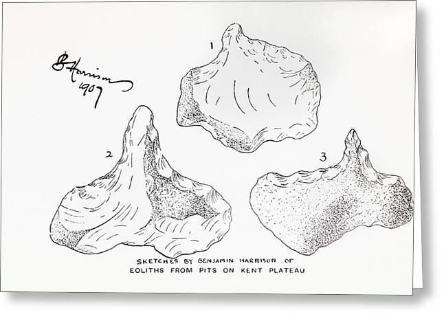 1907 Harrison Eolith Dawn Stone Tool Greeting Card
