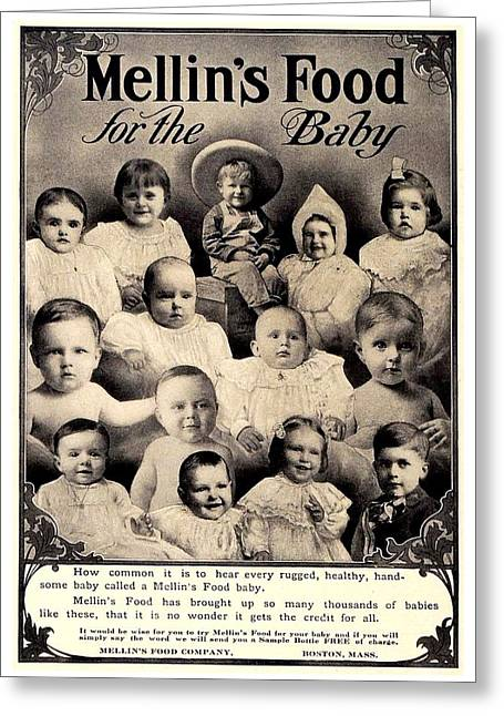 1907 - Mellins Baby Food Advertisement Greeting Card by John Madison