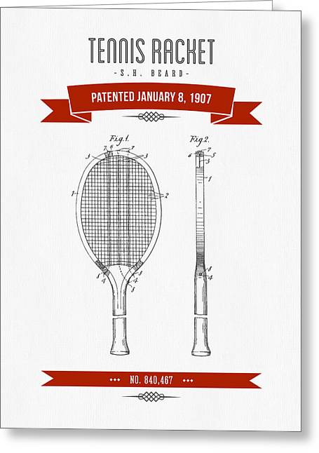 1907 Tennis Racket Patent Drawing - Retro Red Greeting Card by Aged Pixel