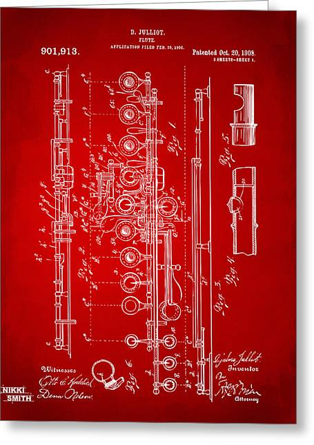 1908 Flute Patent - Red Greeting Card by Nikki Marie Smith