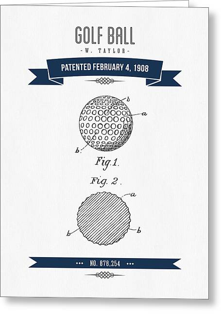 1908 Taylor Golf Ball Patent Drawing - Retro Navy Blue Greeting Card by Aged Pixel