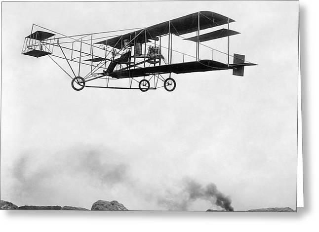 1909 Era Of Technology - Aeroplane And Steam Engine Greeting Card