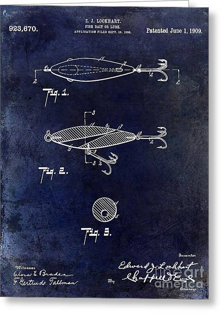 1909 Fishing Lure Patent Drawing Blue Greeting Card