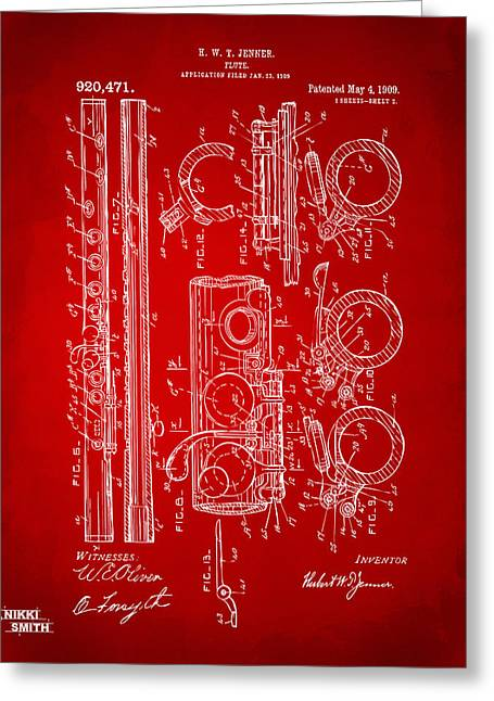 1909 Flute Patent In Red Greeting Card by Nikki Marie Smith