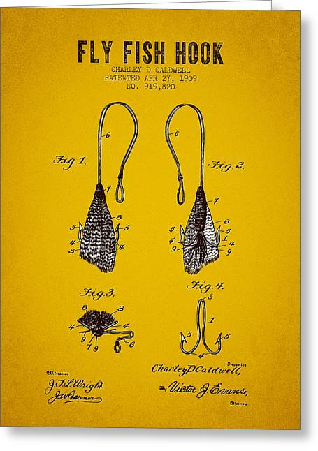 1909 Fly Fish Hook Patent - Yellow Brown Greeting Card by Aged Pixel