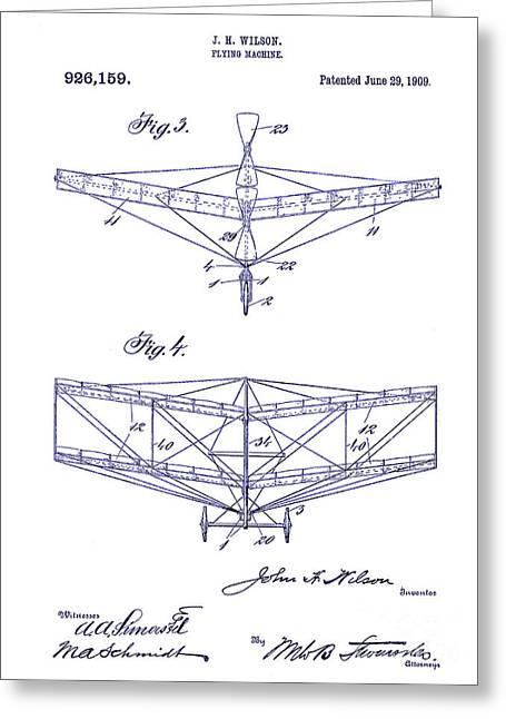 1909 Flying Machine Patent Drawing Blueprint Greeting Card by Jon Neidert