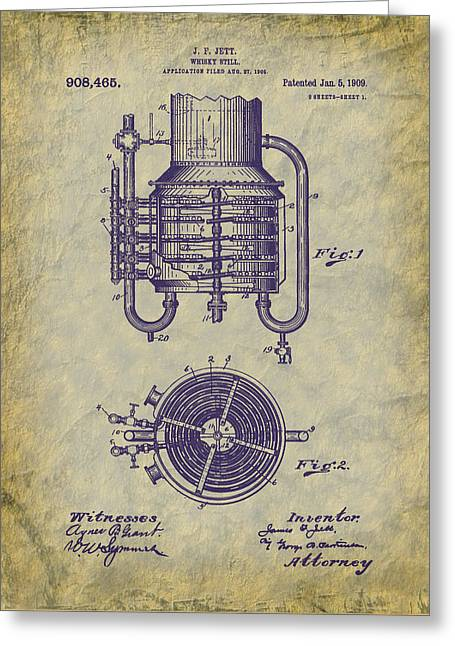 1909 Jett Whiskey Still Patent Greeting Card