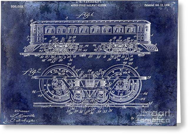 1909 Railway System Patent Drawing Blue Greeting Card