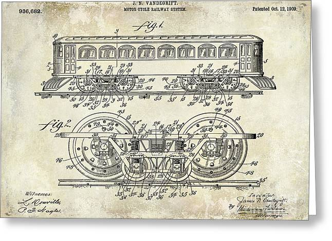 1909 Railway System Patent Drawing  Greeting Card