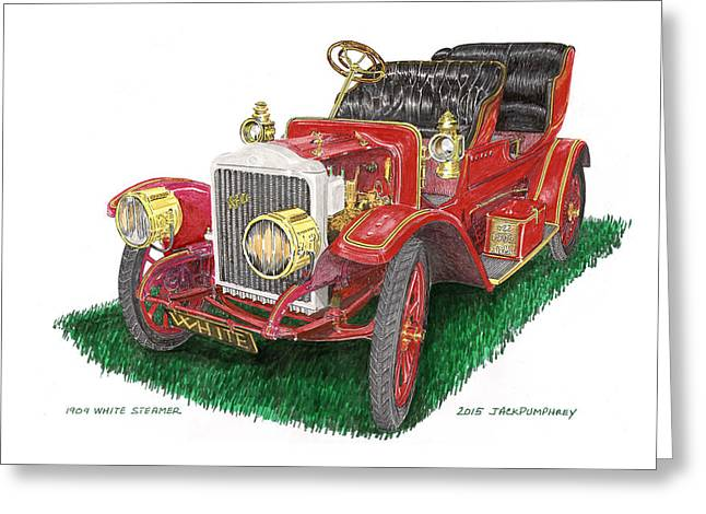 1909 White Steam Car Greeting Card by Jack Pumphrey