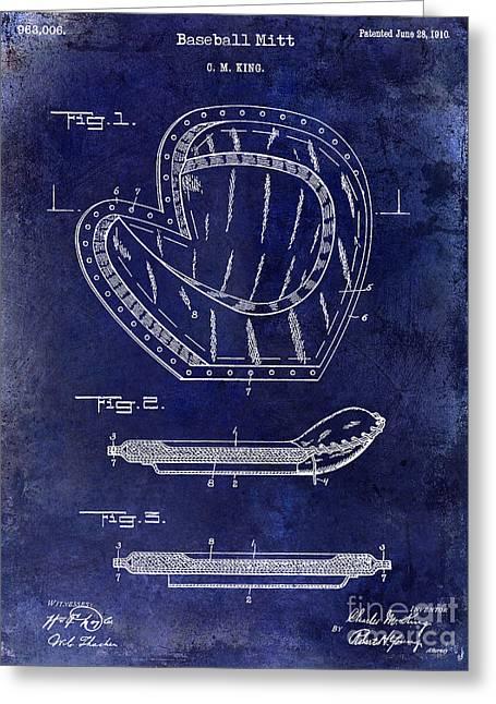 1910 Baseball Patent Drawing Blue Greeting Card by Jon Neidert