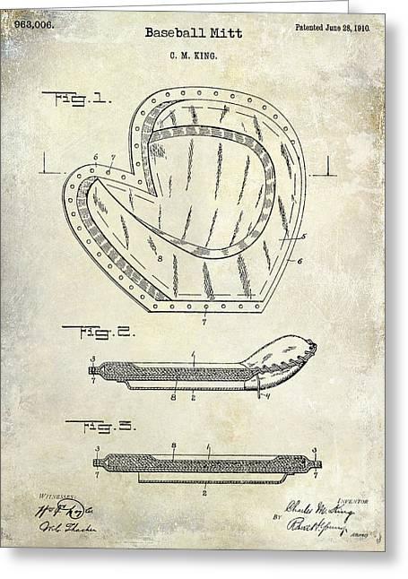 1910 Baseball Patent Drawing Greeting Card by Jon Neidert