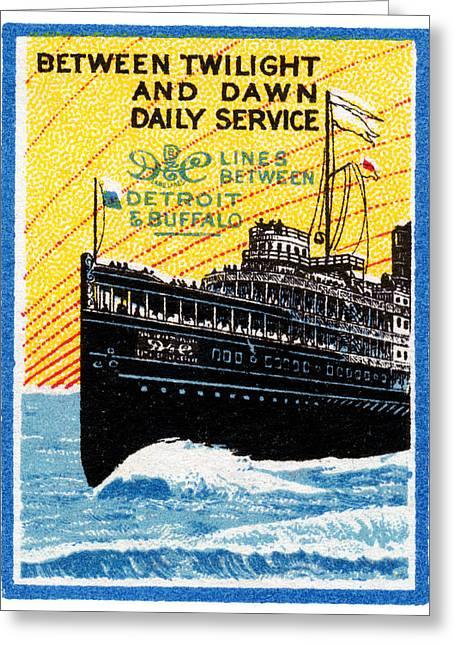 1910 Detroit To Buffalo Steamship Greeting Card
