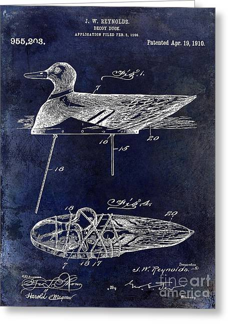1910 Duck Decoy Patent Drawing Greeting Card by Jon Neidert