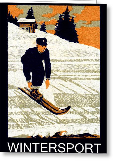 1910 Wintersport Andermatt Greeting Card by Historic Image