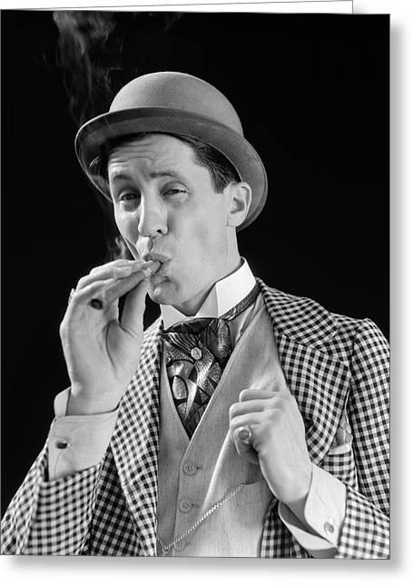 1910s 1920s Character Man Inhaling Greeting Card