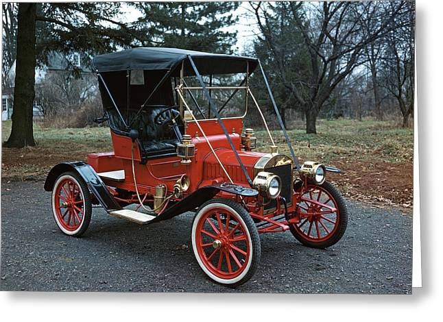 1910s Antique Red Ford Model T Roadster Greeting Card