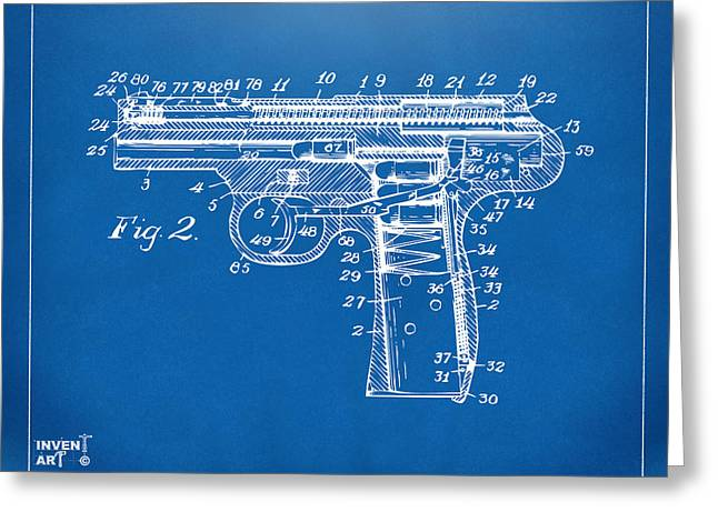 1911 Automatic Firearm Patent Minimal - Blueprint Greeting Card by Nikki Marie Smith
