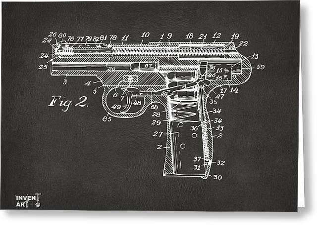 1911 Automatic Firearm Patent Minimal - Gray Greeting Card by Nikki Marie Smith