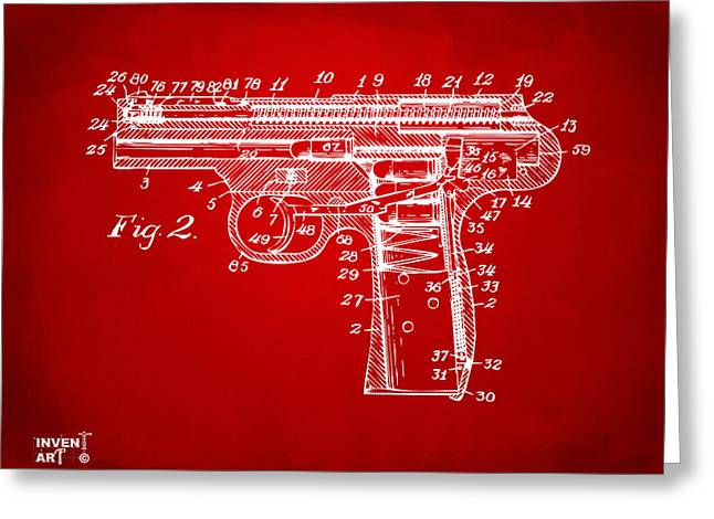 1911 Automatic Firearm Patent Minimal - Red Greeting Card by Nikki Marie Smith
