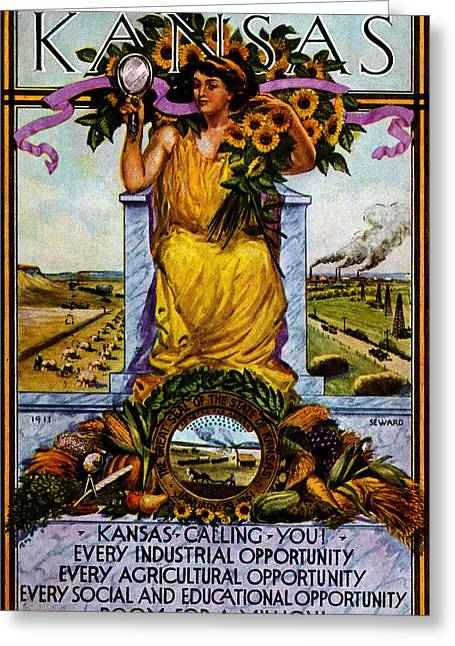 1911 Kansas Poster Greeting Card by Historic Image