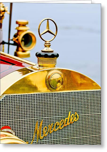 1911 Mercedes 50 Hp Maythorn Tourer Hood Ornament Greeting Card by Jill Reger