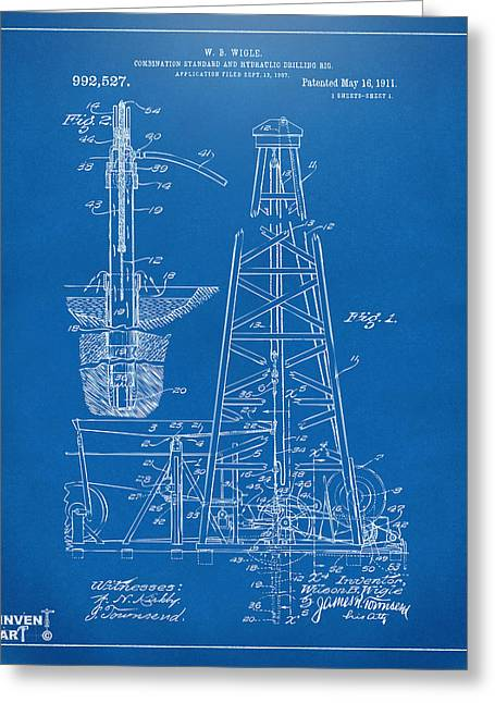 1911 Oil Drilling Rig Patent Artwork - Blueprint Greeting Card