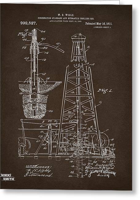 Greeting Card featuring the drawing 1911 Oil Drilling Rig Patent Artwork - Espresso by Nikki Marie Smith