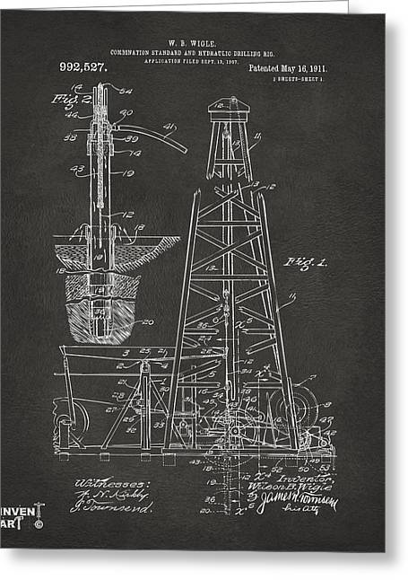 1911 Oil Drilling Rig Patent Artwork - Gray Greeting Card