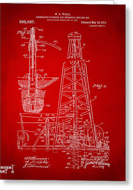 1911 Oil Drilling Rig Patent Artwork - Red Greeting Card