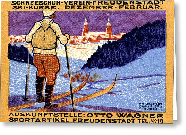 1911 Swiss Ski School Poster Greeting Card by Historic Image