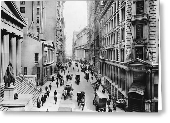 1911 Wall Street Greeting Card by Underwood Archives