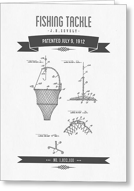 1912 Fishing Tackle Patent Drawing Greeting Card by Aged Pixel