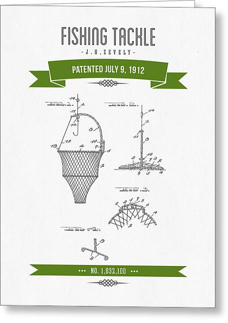 1912 Fishing Tackle Patent Drawing - Green Greeting Card by Aged Pixel
