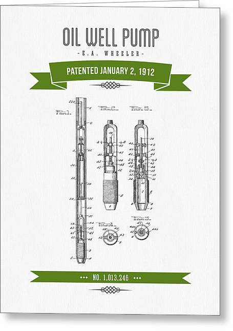 1912 Oil Well Pump Patent Drawing - Retro Green Greeting Card by Aged Pixel