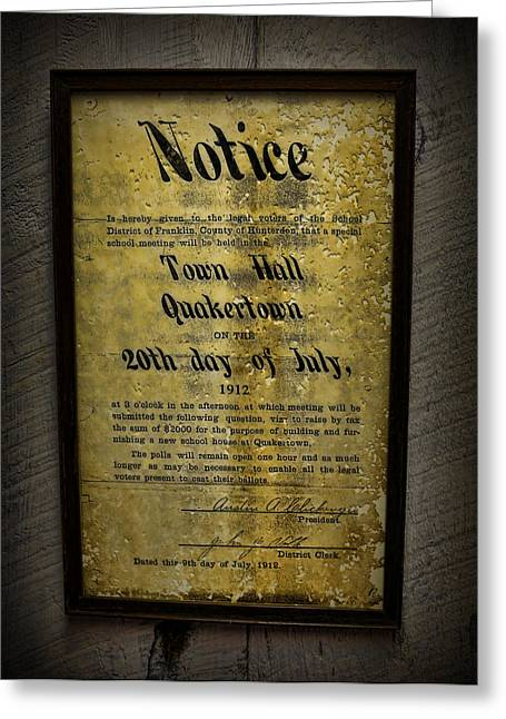 1912 Quakertown Pensylvania - Town Hall Meeting Greeting Card