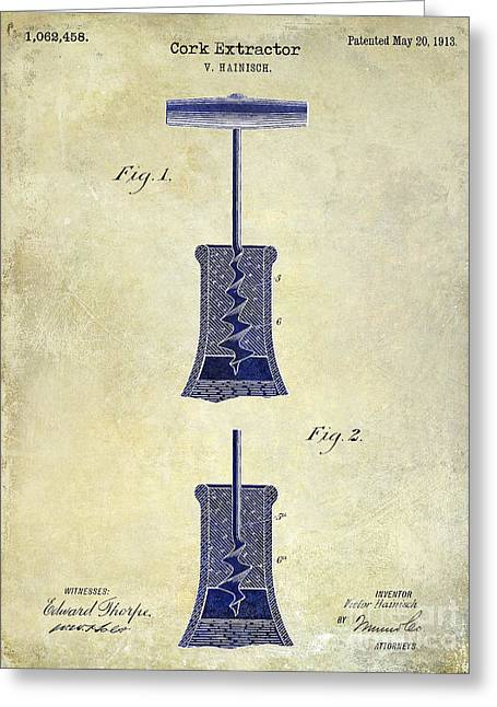 1913 Cork Extractor Patent Drawing 2 Tone Greeting Card by Jon Neidert