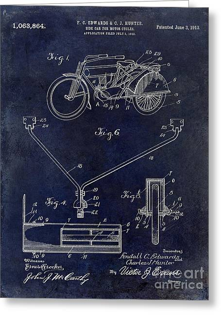 1913 Motorcycle Patent Drawing Blue Greeting Card