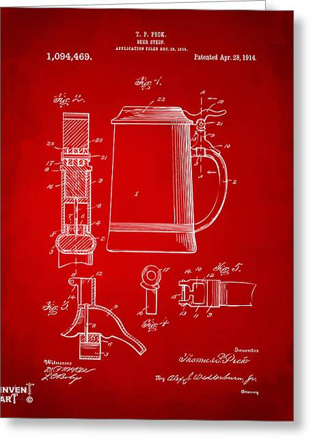 1914 Beer Stein Patent Artwork - Red Greeting Card