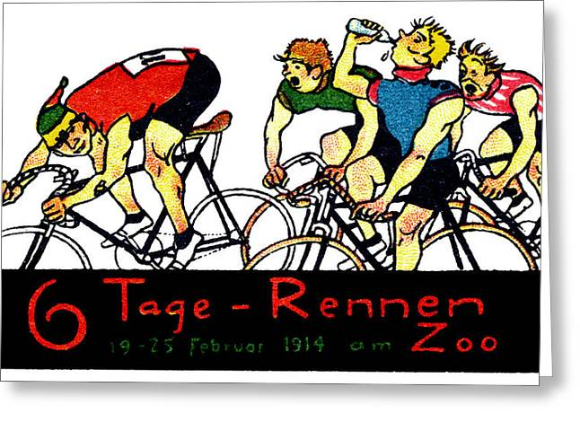 1914 Bicycle Race Poster Greeting Card by Historic Image