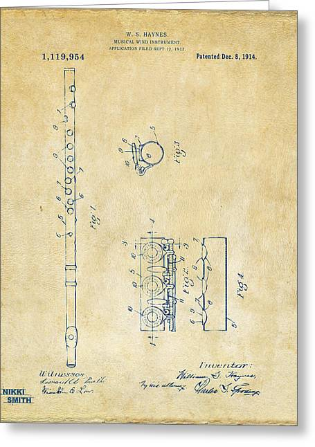 1914 Flute Patent - Vintage Greeting Card by Nikki Marie Smith