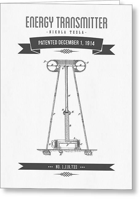 1914 Nikola Tesla Energy Trasmitter Patent Drawing - Retro Gray Greeting Card by Aged Pixel