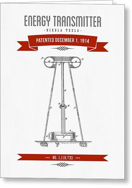 1914 Nikola Tesla Energy Trasmitter Patent Drawing - Retro Red Greeting Card by Aged Pixel