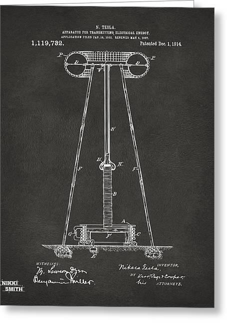 1914 Tesla Transmitter Patent Artwork - Gray Greeting Card by Nikki Marie Smith