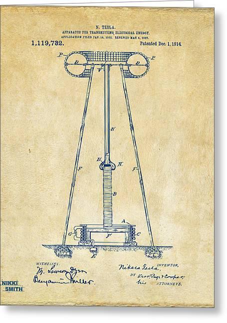 1914 Tesla Transmitter Patent Artwork - Vintage Greeting Card by Nikki Marie Smith