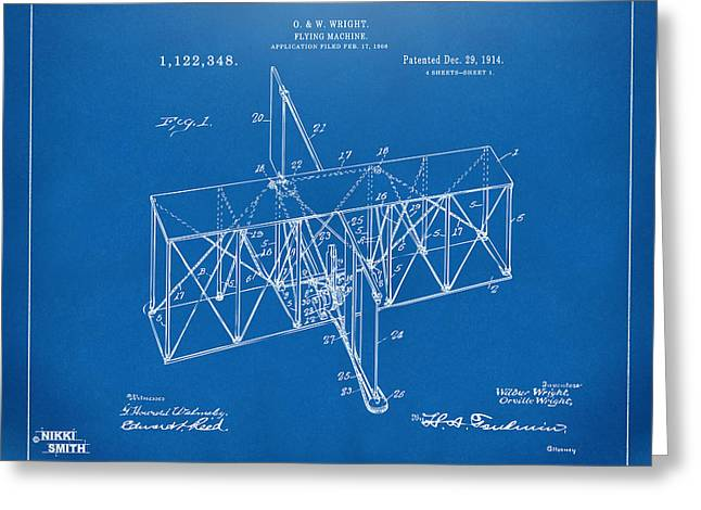Greeting Card featuring the drawing 1914 Wright Brothers Flying Machine Patent Blueprint by Nikki Marie Smith
